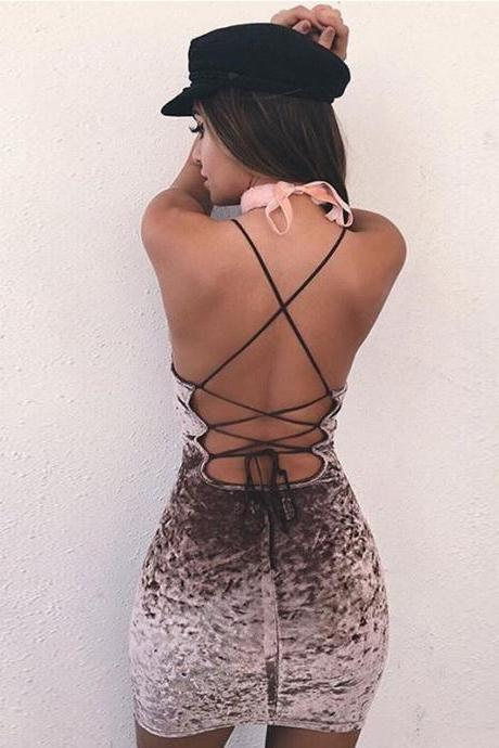 Butterfly Velvet Spaghetti Strap Backless Summer One Piece Dress