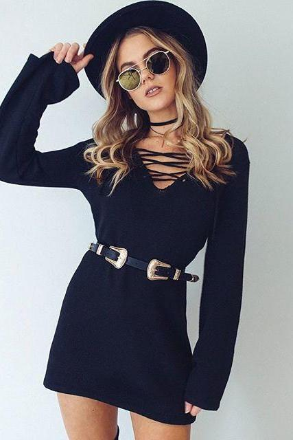 Lace-Up Plunge V Long Sleeved Short Sweater Dress