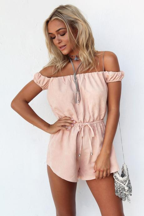 Off-The-Shoulder Romper Featuring Elasticised Waistband