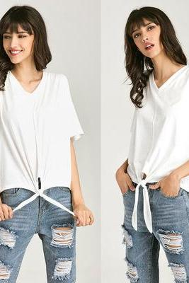 White Plunge V Cold Shoulder Tie-Front Top