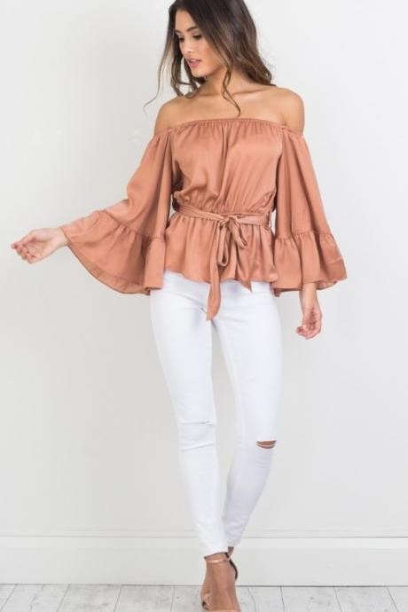 Vintage Relax Comfortable Off the Shoulder Long Sleeve Top Sexy Blouse