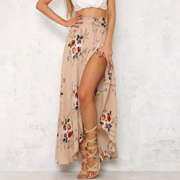 Floral Print Wrap Maxi Skirt Featuring Slit