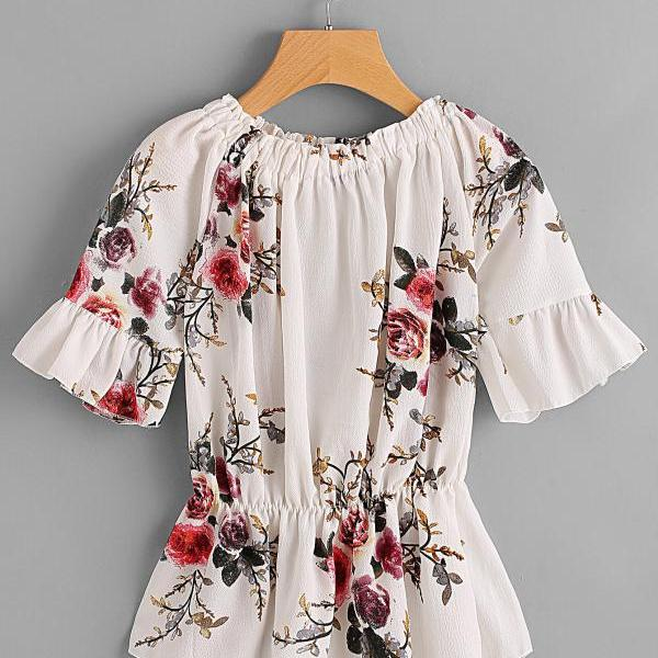 Floral Print Chiffon Off-The-Shoulder Short Ruffled Sleeves Peplum Top
